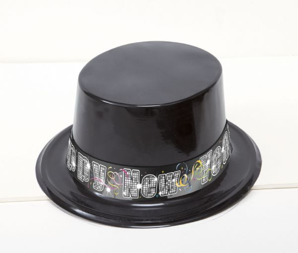 Countdown To New Year Black Plastic Top Hat